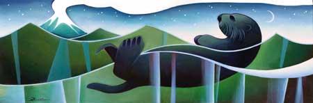 Sea Otter and Volcano, Nathalie Parenteau
