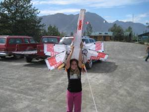 Bronwyn Goodwin shows the power of the X-Wing Fighter kite at KLRS
