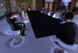 Keithmoon Drumbeat leads a UBC creative writing workshop on Second Life