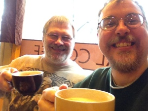 Brad and Me at the Seattle Coffee Works.