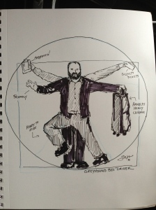 Greyhound Bus Driver as Vitruvian Man